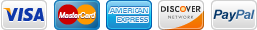 We accept AmEx, DISCOVER, MC, VISA, PayPal